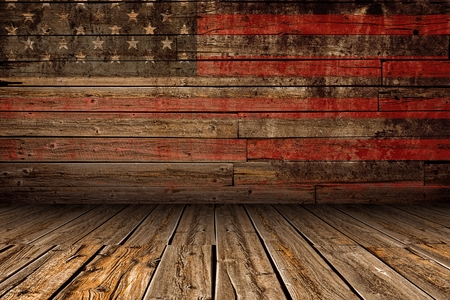 rusty background: Wooden American Vintage Stage Background. Stage with Painted Aged American Flag Paint.
