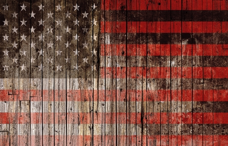 American Flag Painted on Wood High Resolution Background.