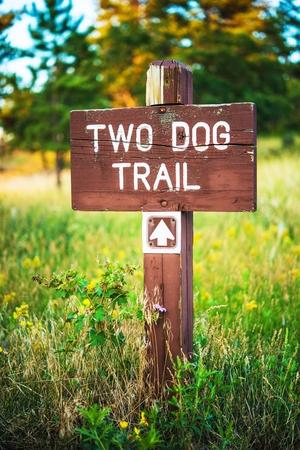 Mountain Trail Wooden Sign, zwei Dog Trail Pfeil. Standard-Bild - 31328065