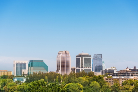 Sacramento California Skyline. City of Sacramento in Summer. Downtown and Large Clear Blue Sky as Copy Space. Sacramento is the Capital City of the California State. photo