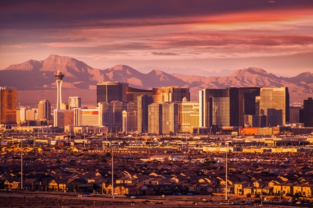 las vegas lights: Famous Las Vegas Strip Skyline at Sunset. Vegas Strip Facing West. Nevada, USA.