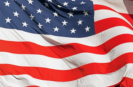 Waving Real Textile American Flag Closeup Photography. United States of America Nation Flag. 免版税图像