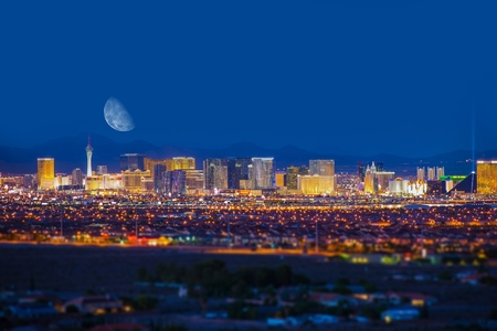 Las Vegas Strip and the Moon. Las Vegas Panorama at Night. Nevada, United States. Stock Photo