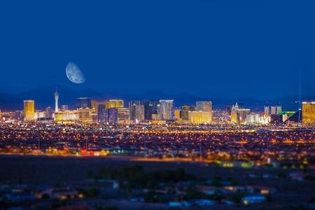 las vegas lights: Las Vegas Strip and the Moon. Las Vegas Panorama at Night. Nevada, United States. Stock Photo