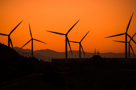 dexter: Wind Turbine in Utah at Sunset. Alternative Energy Source Theme. Wind Power.