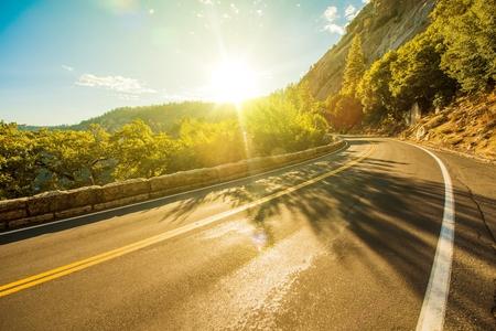 Sunny Yosemite Road in Summer. Yosemite, California USA.