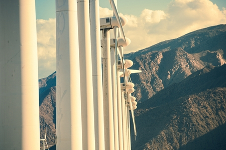 mill valley: Wind Turbines and the Mountains. California Wind Energy Plant Closeup. Stock Photo