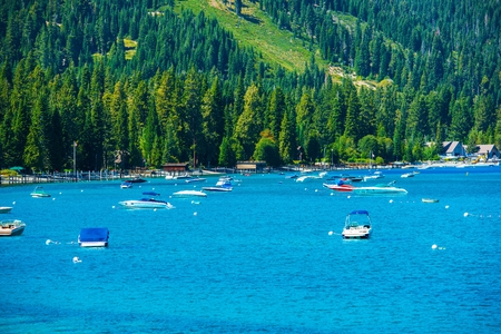 fannette: Lake Tahoe Marina Panorama. South West Lake Tahoe, California, USA. Stock Photo