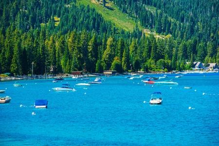 south lake tahoe: Lake Tahoe Marina Panorama. South West Lake Tahoe, California, USA. Stock Photo