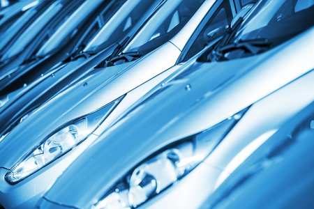 stock car: New Cars in Stock in Blue Color Grading. Cars Market Theme. Cars Inventory.