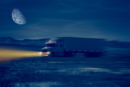 illuminating: Night Truck Drive in Desert Area. Trucking Concept Illustration.