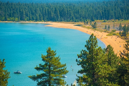 fannette: Southern Lake Tahoe Beach Scenery. Lake Tahoe, California. Stock Photo