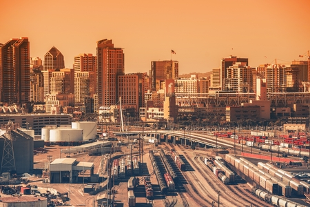 diego: Downtown San Diego, California, USA. Downtown Area with Railroad Hub. Southern California City. San Diego is the  Eighth Largest City in the United States. Stock Photo