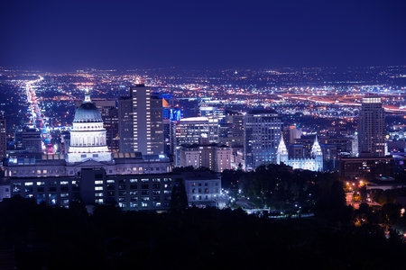 alp: Salt Lake City at Night Panorama with Capitol Building. Salt Lake City, Utah, United States. Stock Photo