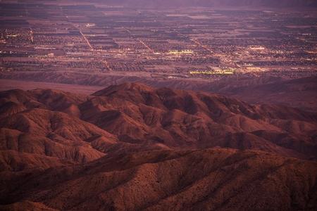 bernardino: Coachella Valley at Dusk. California, United States. Thermal and Mecca, California City Lights.