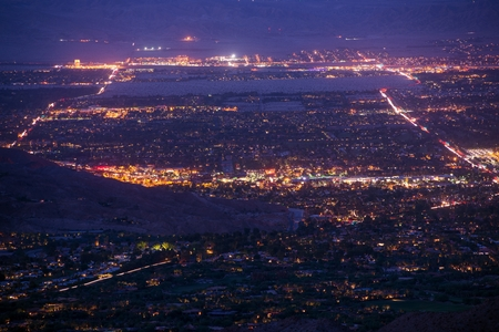 Palm Desert, California Night Panorama. Coachella Valley at Night. photo