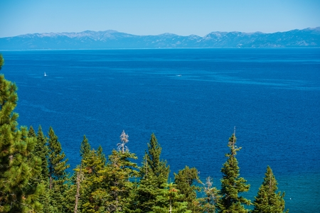 fannette: Lake Tahoe Summer Panorama. Clear Blue Water of the Lake Tahoe  in California Sierra Nevada Mountains, USA.