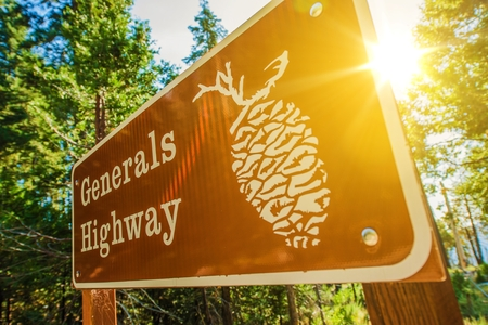 sequoia: Generals Highway Sign in Sequoia National Park, California, United States. Stock Photo