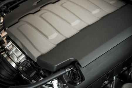 super car: Modern Powerful Car Engine Closeup. Car Technology. Stock Photo