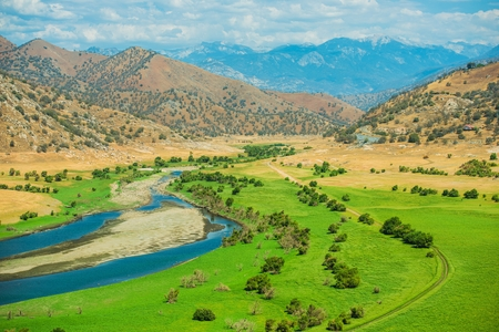 Green California Valley and Sierra Nevada Mountains. California, USA.
