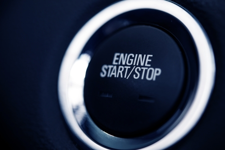 Push Start Car Button Closeup Photo. Car Ignition Button.