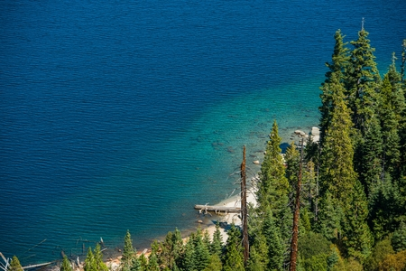 fannette: Lake Tahoe Bay Closeup Photo. Summer at the Scenic Lake Tahoe. Stock Photo