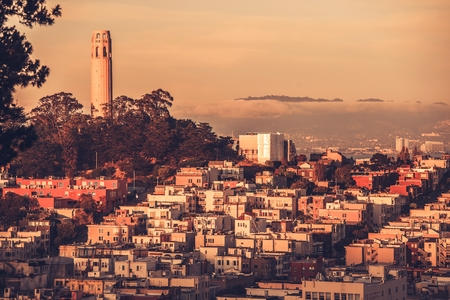 telegraph hill: Telegraph Hill at Sunset San Francisco, California, United States Stock Photo