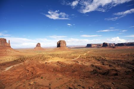erode: American Monuments Valley Landscape Panorama Stock Photo