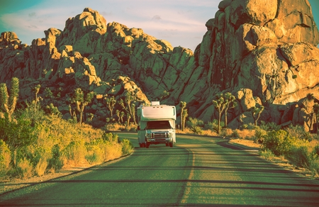 rv: Camper in California. RVing in Souther California. Joshua Trees National Park Landscape