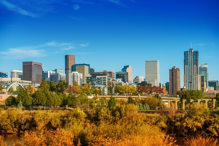city of denver: Denver Summer Skyline Panorama in United States.