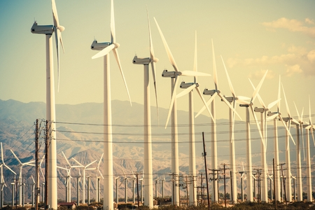 Wind Turbines at Coachella Valley Wind Farm. Фото со стока
