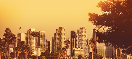 diego: Panoramic Photography of San Diego Skyline at Sunset in California, United States.