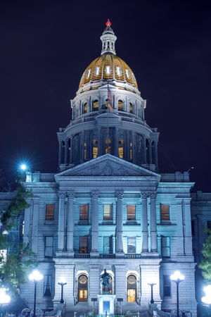 Colorado State Capitol Building at Night in Downtown Denver, Colorado, United States Stock Photo