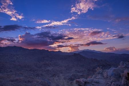 bernardino: San Bernardino Mountains Colorful Sunset in Coachella Valley Area, Southern California, United States. Stock Photo