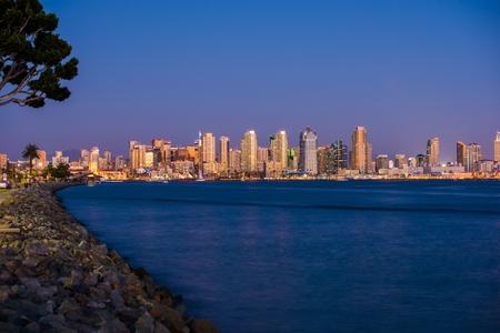 San Diego Bay Skyline at Night in San Diego, California photo