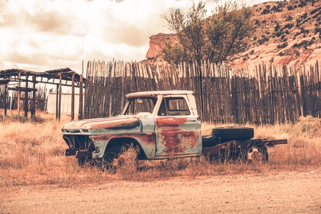 jalopy: Antique Clunker Pickup Truck Abandoned Somewhere in Arizona. Vintage Transportation. Stock Photo