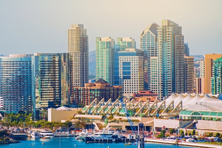 downtown: City of San Diego. City Skyline and the Waterfront. San Diego, California, United States. Stock Photo