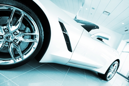cabrio: Convertible Super Car in Blue Color Grading. Sporty Car in the Showroom. Stock Photo