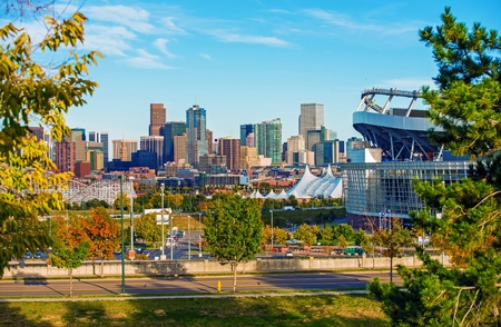 mile: Denver Cityscape Colorado. Downtown Denver Skyline and the Mile High Stadium. Colorado, United States. Stock Photo