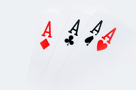 croupier: Four Aces Poker Theme. Four Aces Cards Isolated on White.