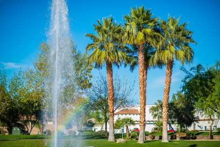 quinta: La Quinta City Park Fountain. California, USA. Stock Photo