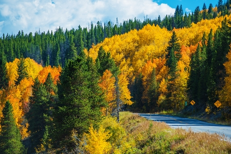 Scenic Fall Colorado Road. Autumn in Colorado Rocky Mountains.