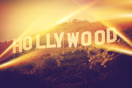famous industries: Hollywood California USA. World Famous Hollywood Sign Concept.