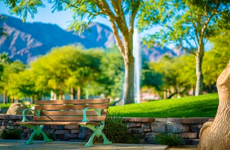 quinta: La Quinta California City Park Bench. Coachella Valley, California, United States.