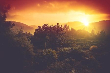 bernardino: Mountains Sunset Scenery. San Bernardino Mountains in Southern California, United States. Beautiful Scenic Sunset.