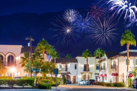 riverside county: La Quinta Fireworks California, United States. La Quinta Old Town Holidays New Year Event Fireworks. Coachella Valley.