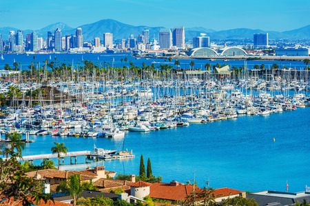 Panorama of San Diego, California, United States. San Diego North Bay, City Skyline, Shelter Island and the Pacific Ocean Blue Water.