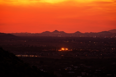 arizona sunset: The Arizona Sunset. Scenic Reddish Sunset in Phoenix, Arizona USA. Stock Photo