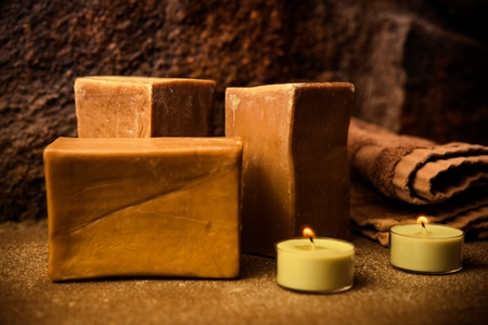 Tree Bars of Aleppo Soap or Syrian Soap. Hard Soap Made from Olive Oil and Lye.