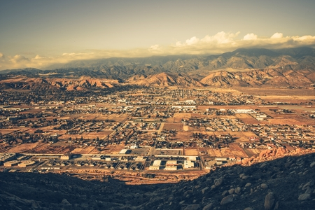 county: Banning California Panorama and San Bernardino Mountains at Sunset. Banning is a City in Riverside County, California, United States